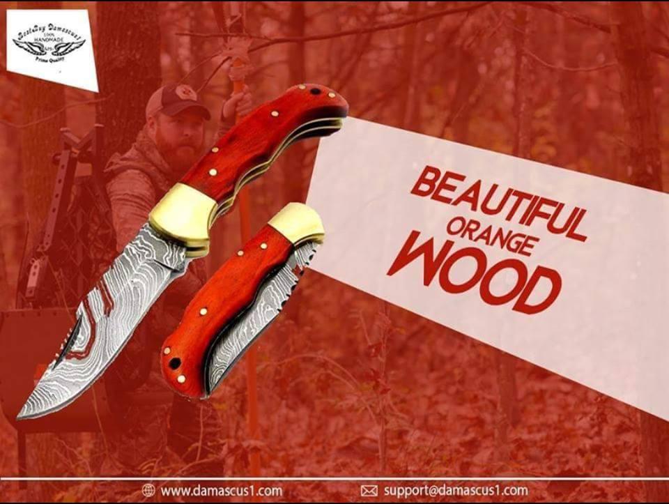 Handmade Damascus Steel Folding Pocket Knife